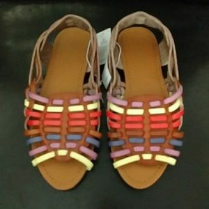 Old Navy Other - NWT Old Navy Brown Sandals w/ rainbow weaving