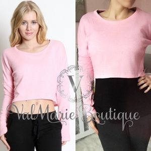 PINK CROPPED LONG SLEEVE SWEATSHIRT
