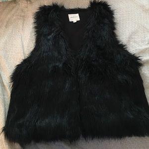 Black silence and noise black fur vest