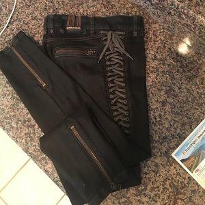 Philipp Plein Denim - Plein Sud lace up skinny leg jeans