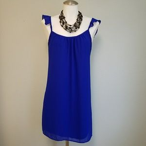 Sage Dresses & Skirts - Blue Shift Dress with Ruffle Straps