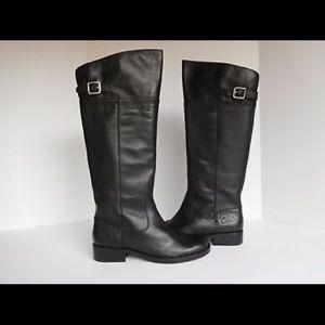 Coach Joele black leather riding boots