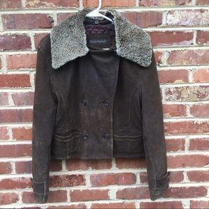 Banana Republic Leather Fur Bomber Jacket Moto