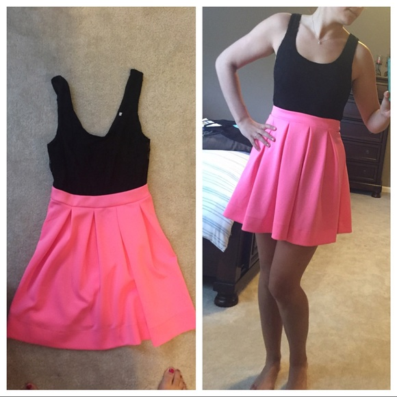 Charlotte Russe Dresses Hot Pink And Black Lace Dress Poshmark
