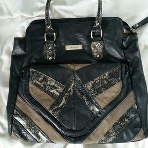 Nicole Lee Handbags - Black Nicole Lee Handbag with Python Detail