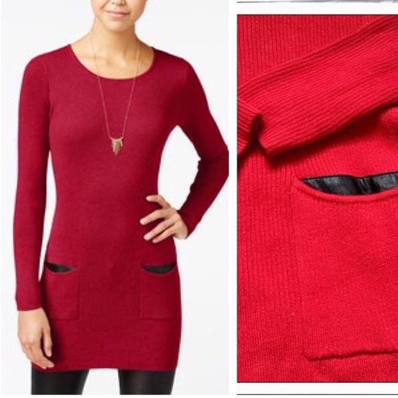 4dab72865c5 BCX Dresses   Skirts - Stylish Red Ribbed Sweater Dress
