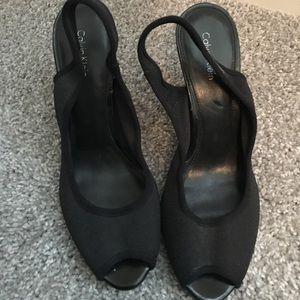 Sling back peep toe heels. Calvin Klein