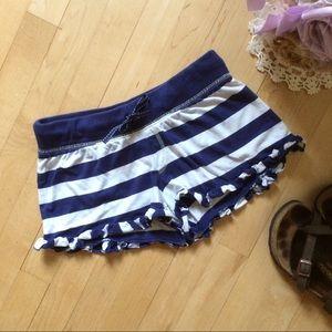 Blu Chic Lounge Pants - Blue + white stripe ruffle shorts