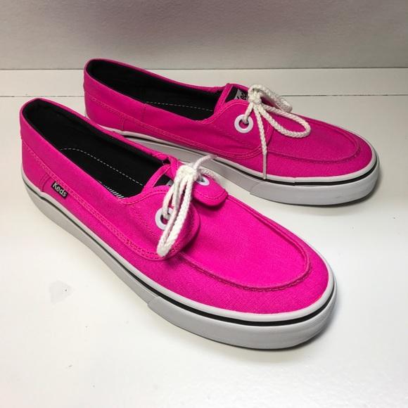 Womens Hot Pink Keds Platform Loafers