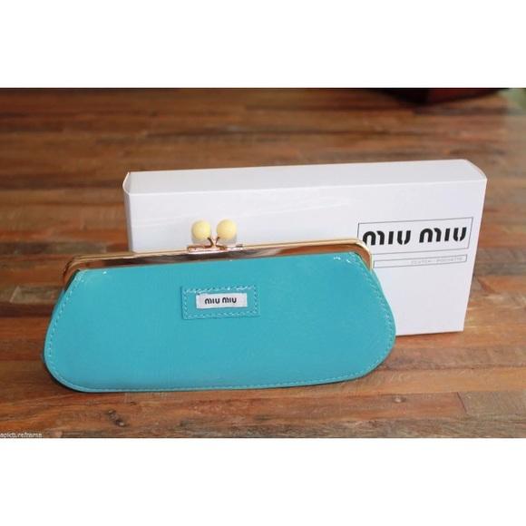 4fad52178c7 Miu Miu Bags   Teal Patent Leather Clutch Wallet Bag   Poshmark