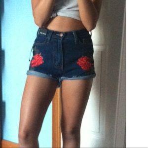 Fashion Nova Pants - Fashion Nova Rose embroidered denim shorts