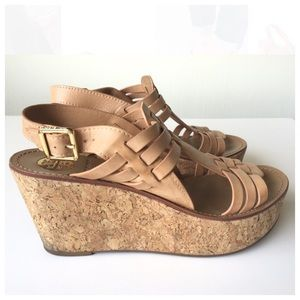 Tory Burch Tan Leather Woven Cork Sandal Wedges