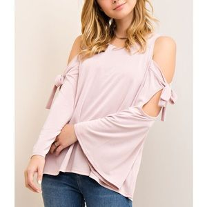 xx Cold Shoulder Tie Sleeve Top