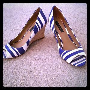Ann Taylor Shoes - Ann Taylor Striped Wedged Espadrilles