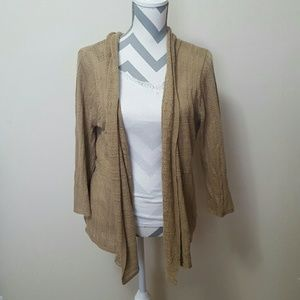 Notations Sweaters - Notations Tan Lightweight Open Cardigan Kimono