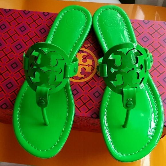 ca55bfd65bcd TORY BURCH NEON GREEN MILLER SANDALS 7.5