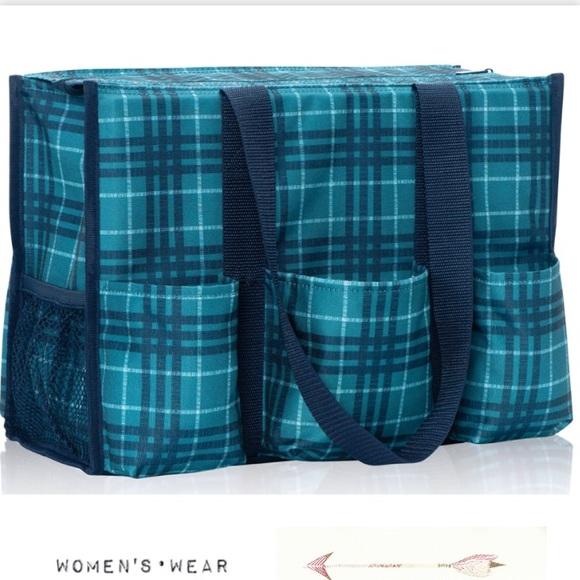 Thirty One Bags New Ziptop Utility Tote Bag Plaid Poshmark