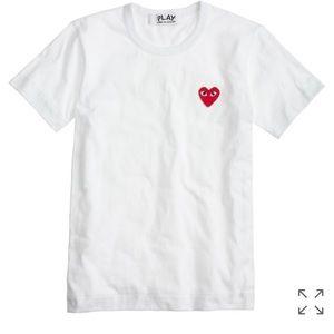 Comme des Garcons Tops - PLAY Comme des Garçons® heart T-shirt in white