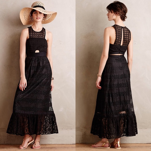 Anthropologie tracy reese black maxi dress