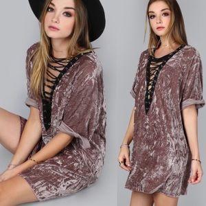 Dresses & Skirts - Lace-up, Velvet Mini Dress, 3 Sizes Left!