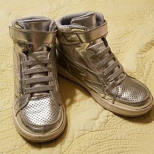 Girls silver hightops