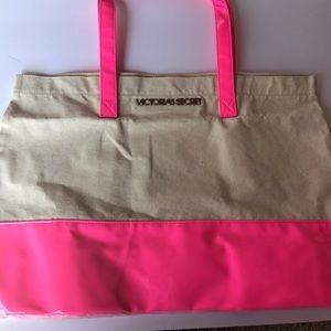 Victoria's Secret Handbags - Victoria's Secret pink and beige tote bag
