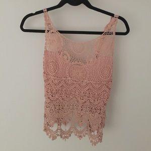 Solemio Tops - Blush Pink Crochet Top