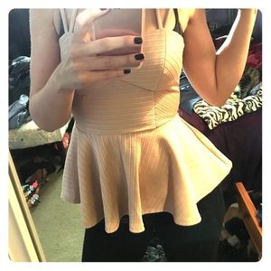 Pale gold peplum top