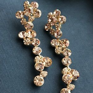 """Jewelry - 3"""" of get noticed rose gold peachy bling earrings"""