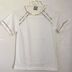 VTG 1960's tiny white tee rainbow stitching