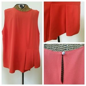 ELLEN TRACY orange peplum blouse top XL