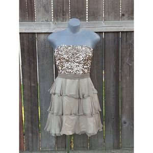 Scala Dresses & Skirts - Sale! Scala Sequin Ruffle Dress Champagne Size 8