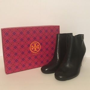 Tory Burch Shoes - NIB Tory Burch Lowell Leather Wedge Bootie (Black)