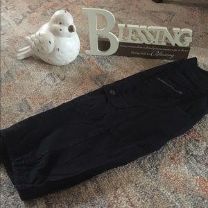 Pants - Black cargo- like Capri pants that tie at bottom