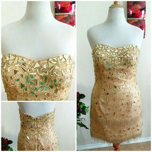 Riva Designs Dresses & Skirts - Gold Sequin Fringe Short Dress