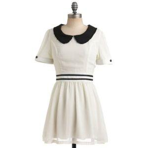 MODCLOTH Dahlia Ivory Peter Pan Collar Dress