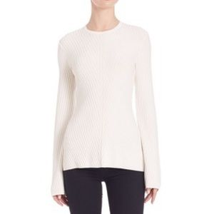 Theory Tops - Theory Ardesia bell sleeve white rib knit sweater
