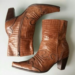 AREZZO Genuine Leather Western Boots