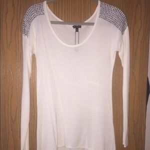 Sweaters - NWOT white Express sweater with jeweled shoulders