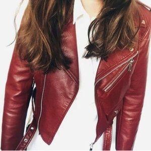 Zara Jackets & Blazers - 🆕Zara burgundy- red faux leather jacket