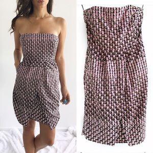 Banana Republic Strapless Pink Print Dress