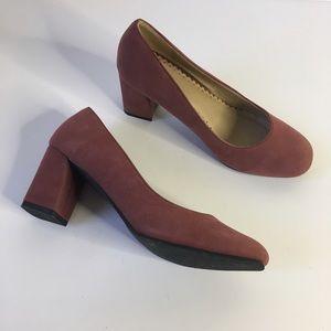 Shoes - Mauve pink vegan Suede round toe block heel pumps