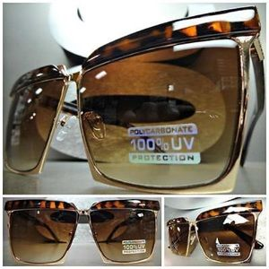 Accessories - Square Cat Eye Flat Metal Aviator Sunglasses
