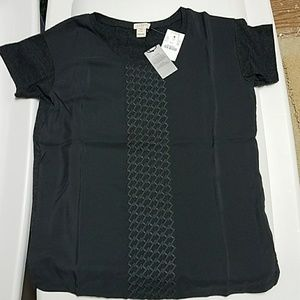 J.Crew Factory Tops - J. Crew Embroidered Silky front T-shirt XSP NWT