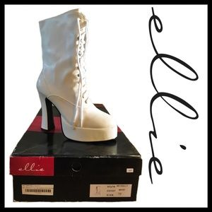 ellie Shoes - Ellie white, lace-up, heeled ankle boots
