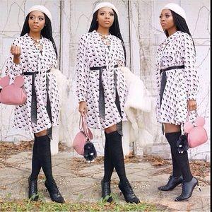 Gracia Dresses & Skirts - Gracia Long Sleeve Pleather Belt Dress
