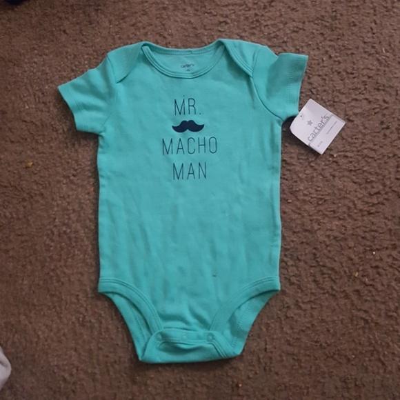 Carters Baby Boys Macho Man Bodysuit Blue 9M