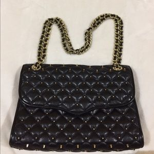 REBECCA MINKOFF BLACK LEATHER STUDDED BAG