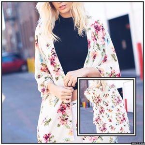TillieCreekClothing Tops - Ivory Floral Print Kimono Cardigan