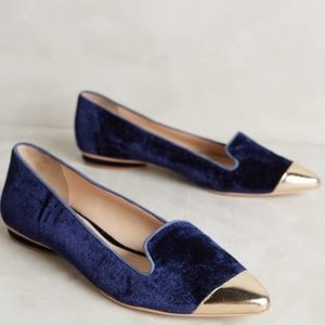 Anthropologie Guilhermina Smoking Velvet Flats